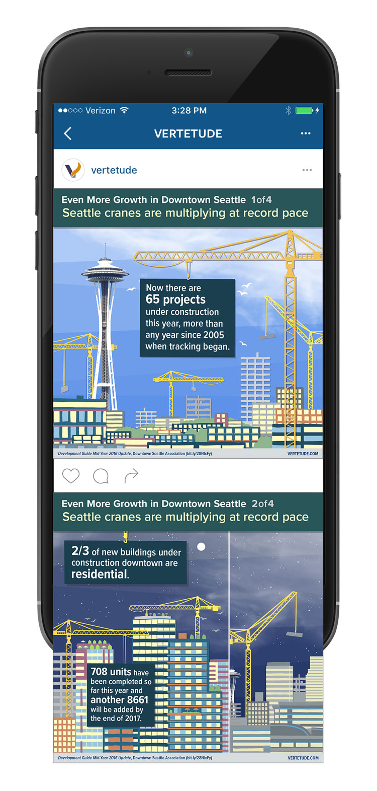Infographic of more growth in downtown Seattle, Instagram mobile mockup