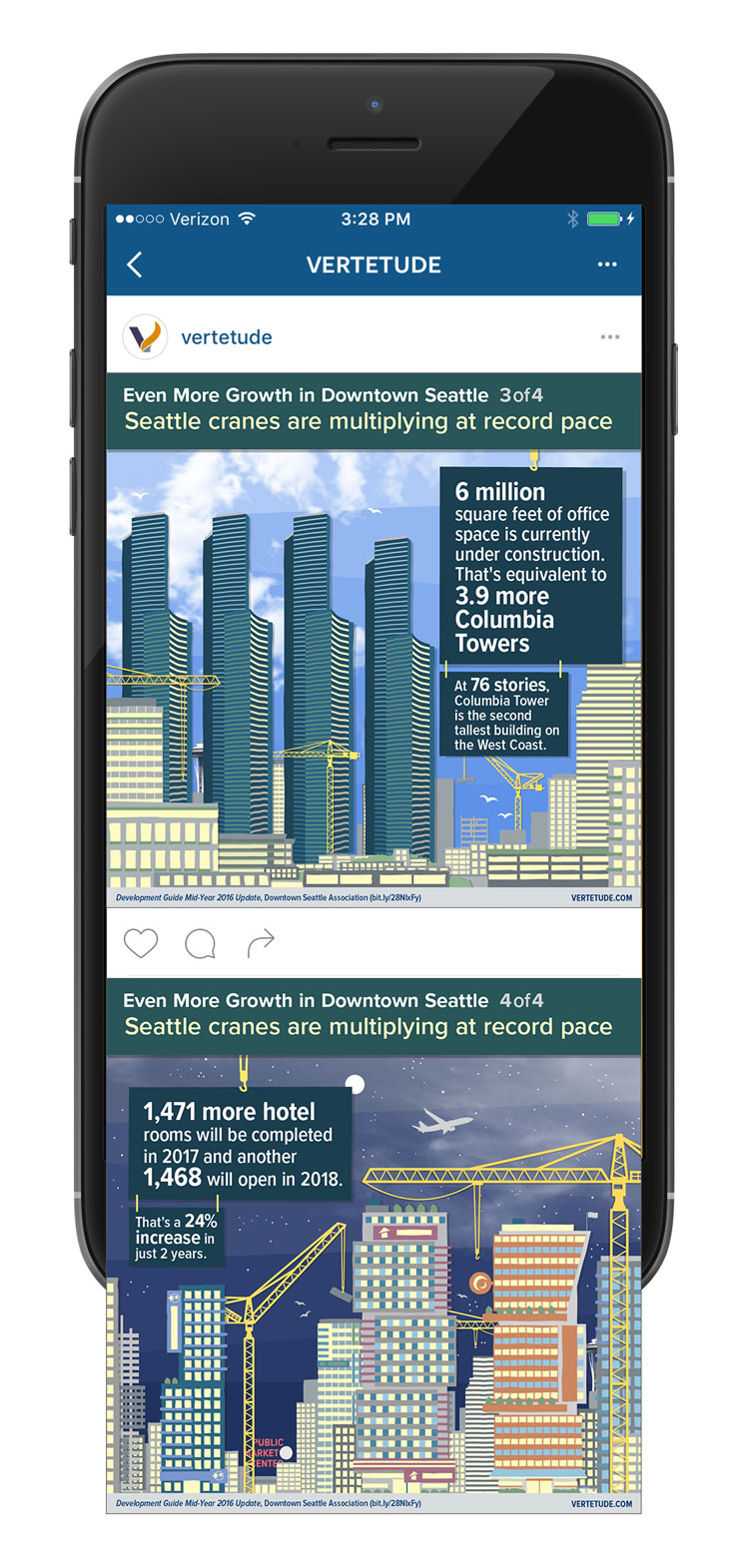 Infographic of more growth in downtown Seattle, Instagram mobile mockup 2