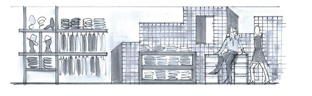 Store concept elevation sketch of merchandising and original artwork