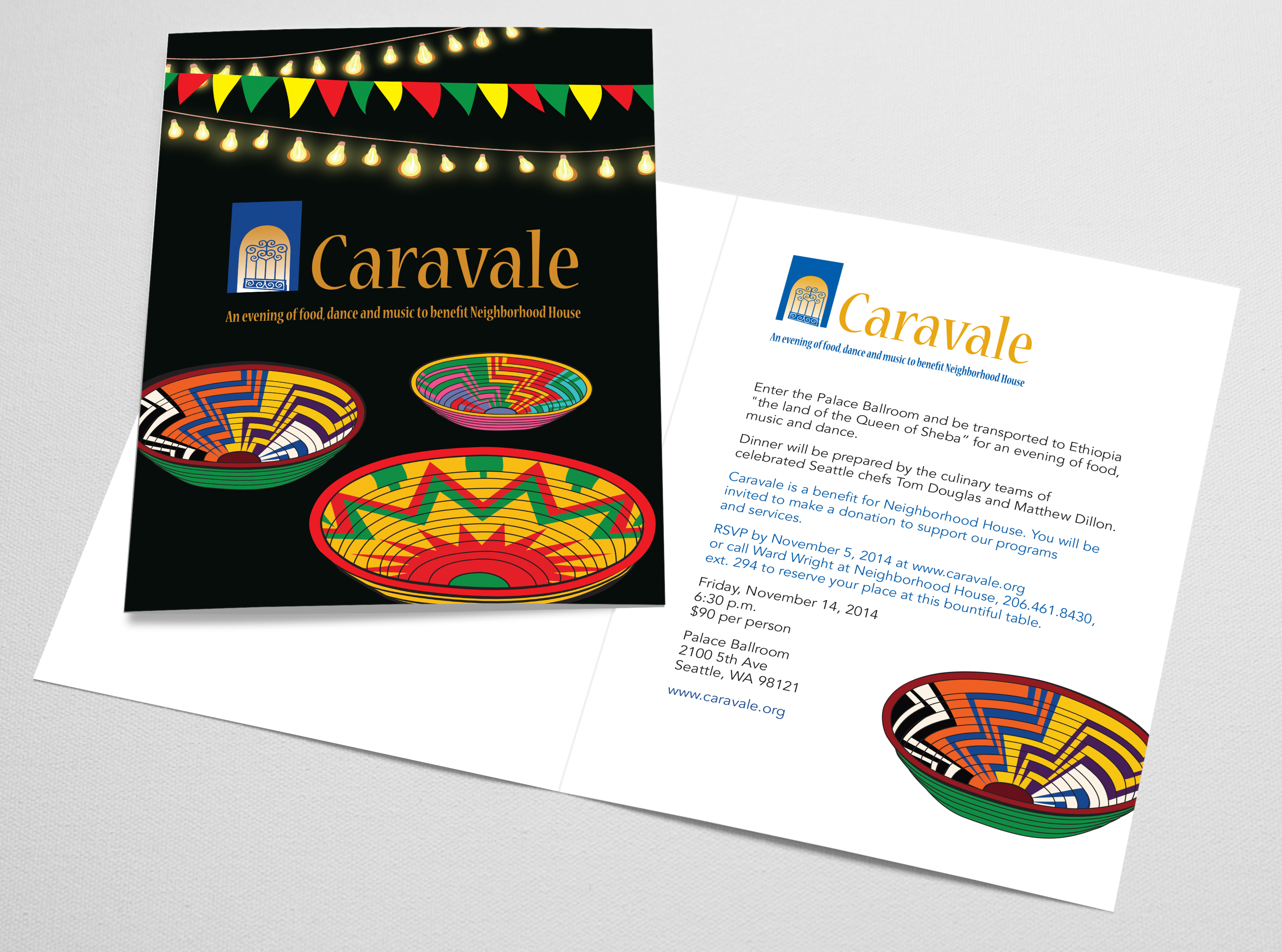 Invitation for Caravale 2014 featuring original artwork inspired by Ethiopian baskets