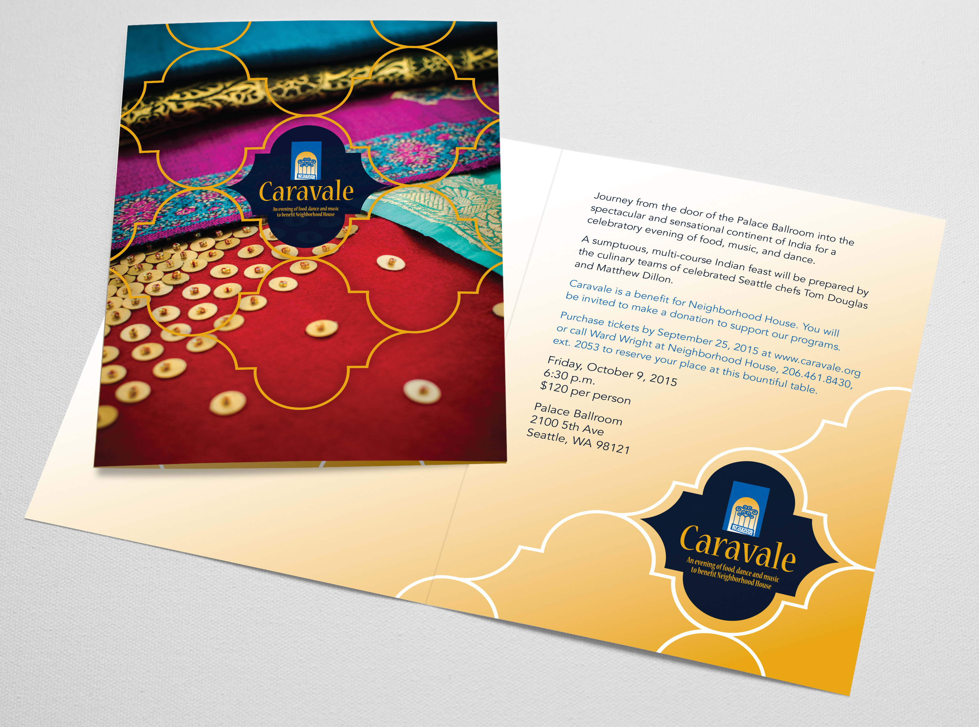 Caravale invitation featuring sari fabrics photography and Indian patterns
