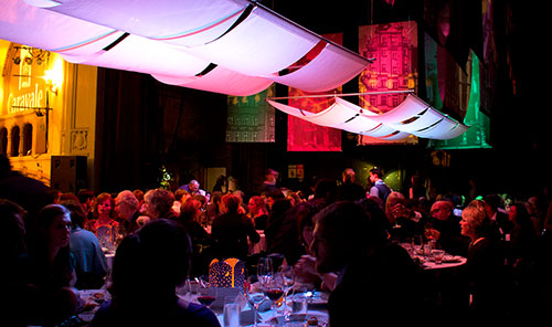 Caravale 2013 event photo on Moore Theater stage under illuminated awnings