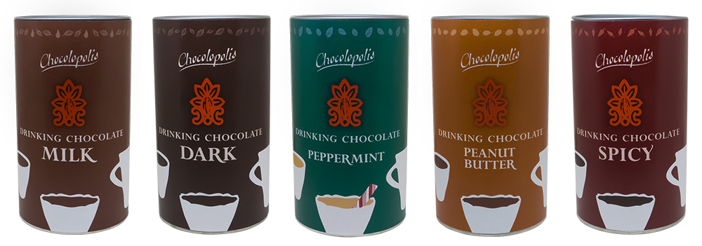 Chocolopolis Drinking Chocolate packaging design, featuring original artwork and flavor-inspired colors