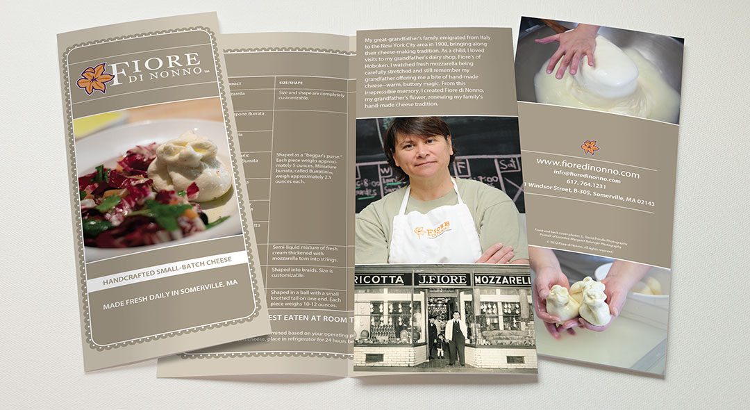 Fiore di Nonno brochure with food photography and product offerings
