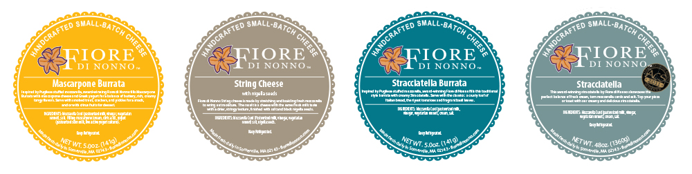 Fiore di Nonno cheese packaging round labels with fresh colors inspired by flavors