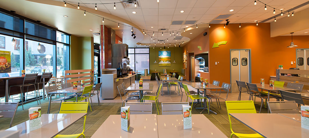 Garbanzo Mediterranean Grill interior design and artwork photo