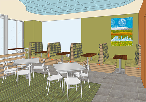 Store rendering showing dining room, customer flow, and focal art