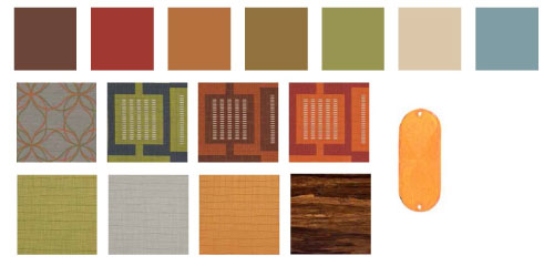 Garbanzo menu-inspired color swatches, along with urban inspired materials