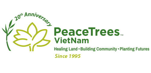 PeaceTrees Vietnam 20th anniversary celebratory logo design horizontal