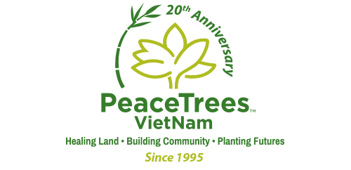 PeaceTrees Vietnam 20th anniversary celebratory logo design vertical