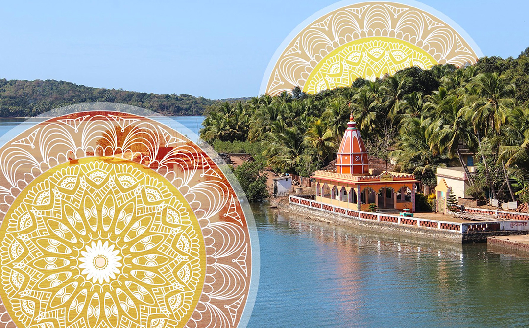 Artwork using mosaic patterns on photo of Indian landscape for use in the slideshow presentation