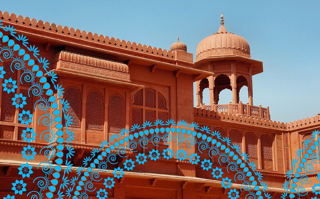 Original artwork using mosaic patterns with photography of Indian architecture for use in the slideshow presentation