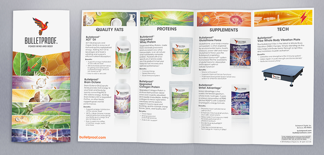 Consumer brochure highlighting featured Bulletproof products