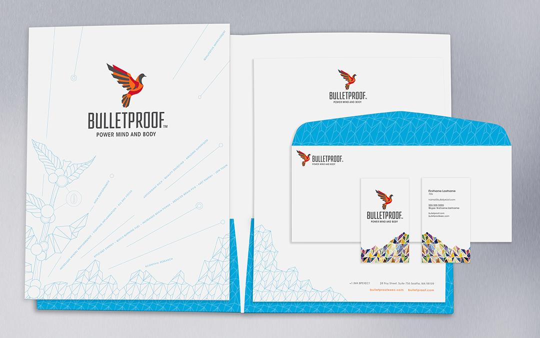 Bulletproof business papers, featuring mountain patterns and coffee artwork