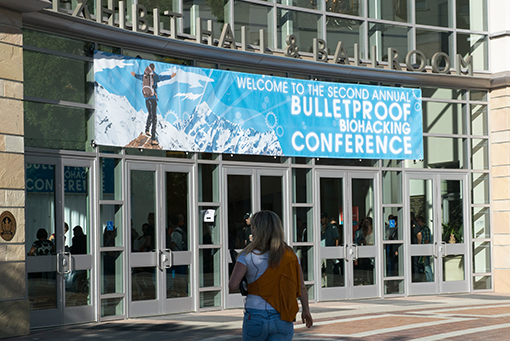 Bulletproof Biohacking Conference identity design and exterior signage banner