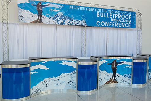 Bulletproof Biohacking Conference interior signage, registration counter