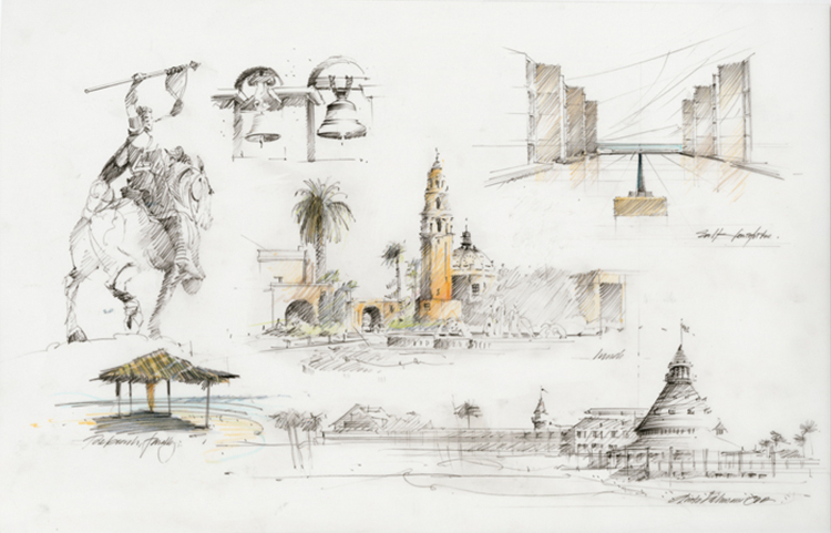 Sketchbooks artwork of San Diego local attractions