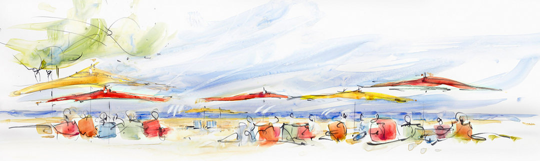 San Diego Vibe watercolor painting of beach scene on custom wallpaper