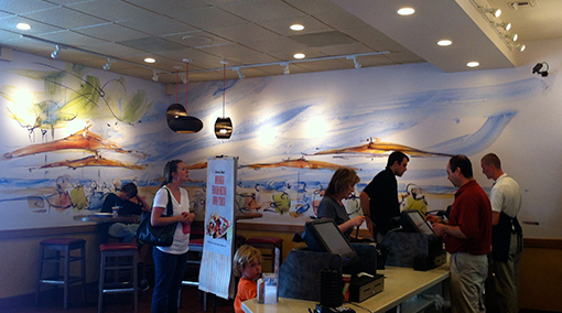 Rubio's Carlsbad store photo of San Diego Vibe watercolor painting of beach scene on custom wallpaper