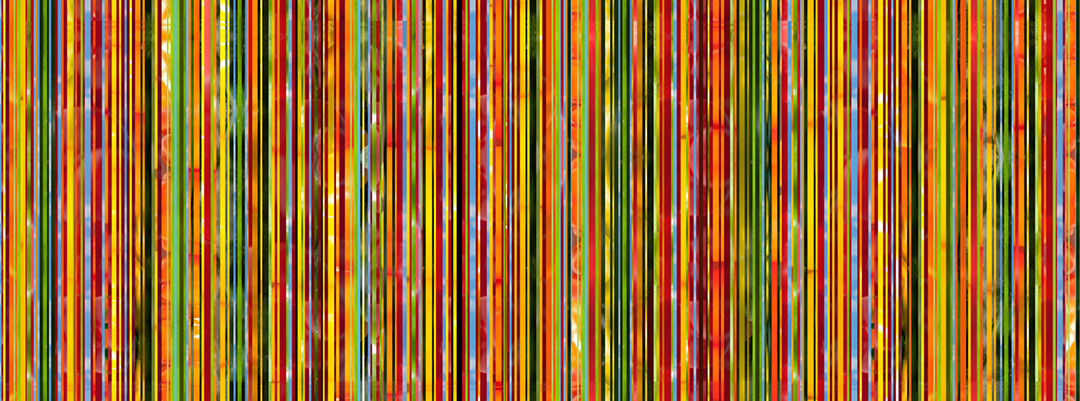 Stripe pattern artwork using strips of photography of salsa ingredients printed on custom wallpaper