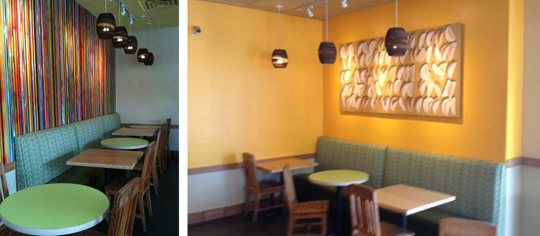 Restaurant photo of Striped Salsa Pattern original artwork, upholstered booths, and tortilla pattern photography