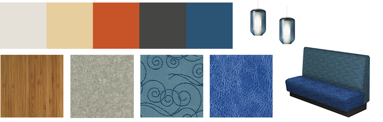 Ocean inspired paint swatches and material samples for Del Mar Heights restaurant