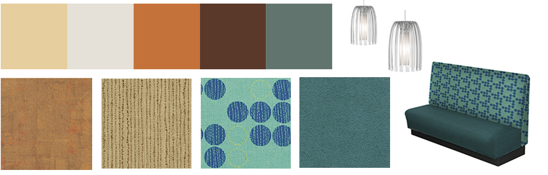 Beach inspired paint swatches and finish material swatches for La Jolla Rubio's restaurant