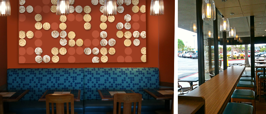 Restaurant photo showing tortilla pattern artwork and ocean inspired furniture and lighting