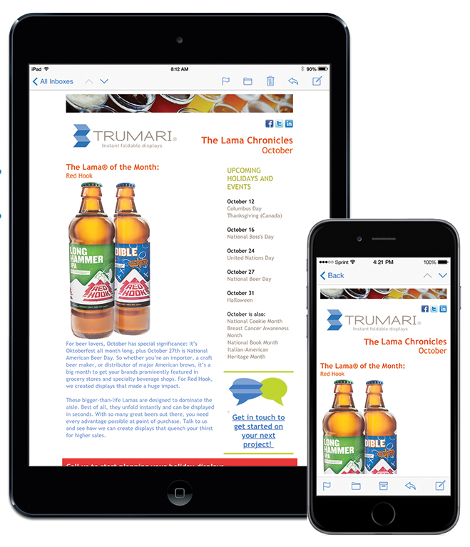 Trumari Lama Chronicles email campaign with seasonal products