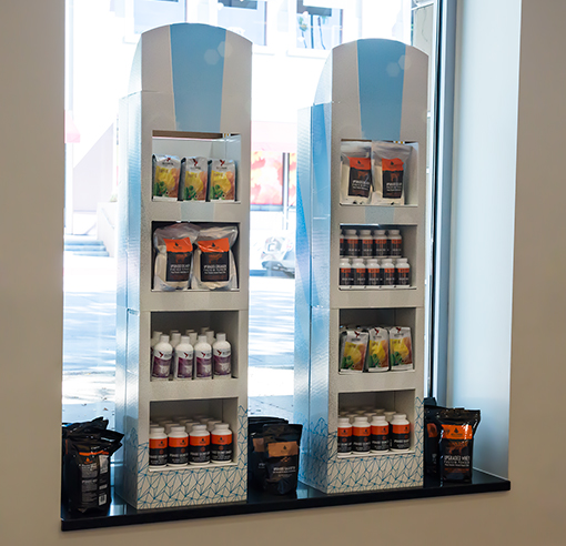 Bulletproof pop-up shop design merchandising product shelves