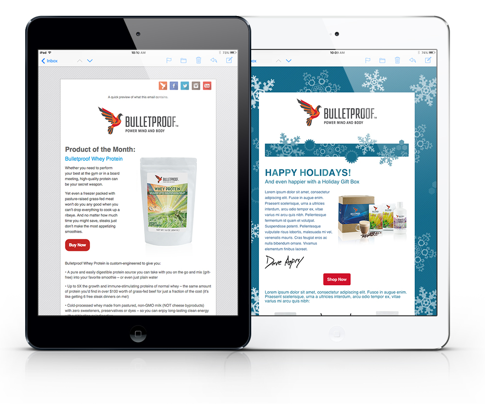 Bulletproof email campaign responsive templates shown on tablets
