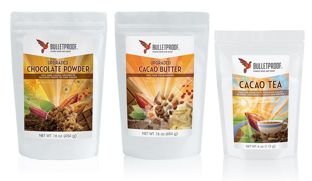 Bulletproof packaging design, Chocolate Powder, Cacao Butter, and Cacao Tea