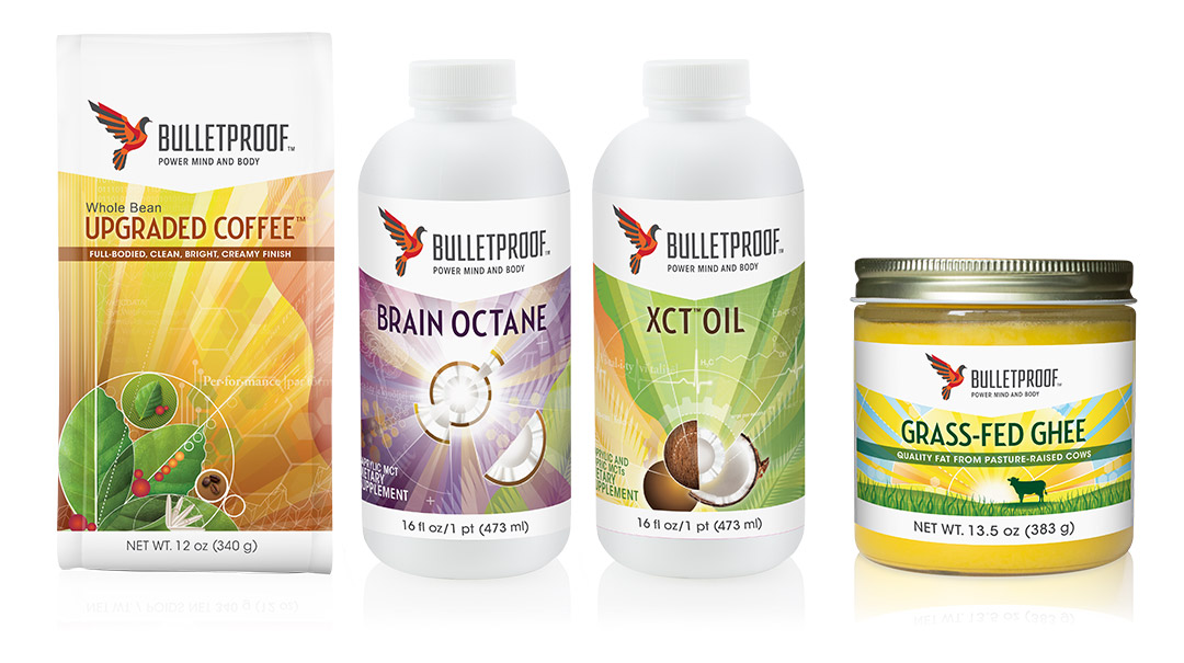 Bulletproof coffee packaging design, healthy fats, Brain Octane, XCT Oil, and Grass-fed Ghee