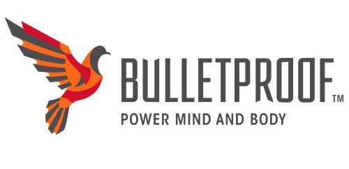 Bulletproof logo design, buff dove, horizontal