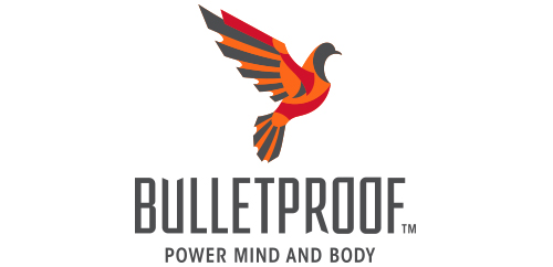 Bulletproof logo design, armored dove, vertical