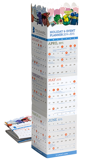 Trumari Lama Display desktop retail calendar featuring seasonal artwork