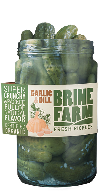 Pickle product display for food industry merchandising