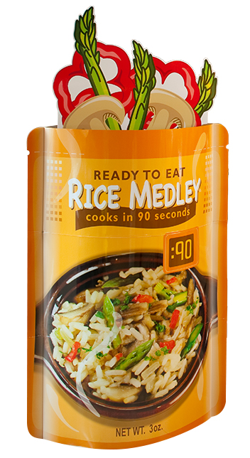 Rice pouch Lama Display column for grocery product introduction