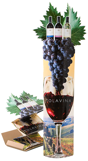 Wine Lama Display column for wine industry showing compact packaging and ease of deployment