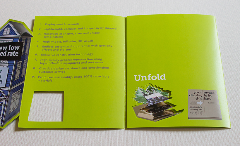 "Mini brochure unfolding second panel, listing Trumari benefits and second word of tagline, ""Unfold"""