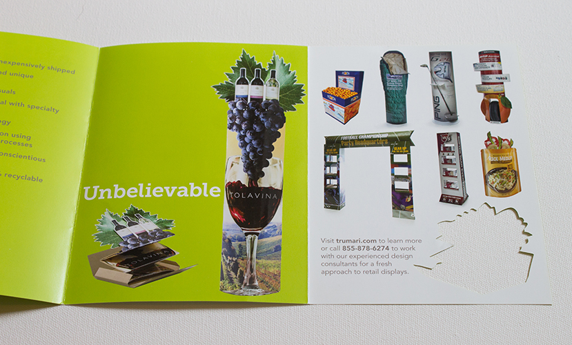 "Brochure inside spread, with last word of tagline, ""Unbelievable"", Lama Display deployment and product samples"