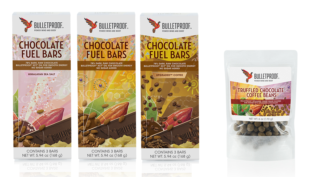 Bulletproof Chocolate Fuel Bars packaging and Truffled Chocolate Coffee Beans