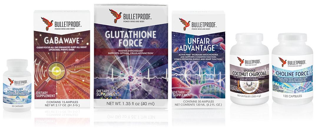 Bulletproof Supplements packaging design, Gabawave, Glutathione Force, Unfair Advantage, Coconut Charcoal, and Choline Force