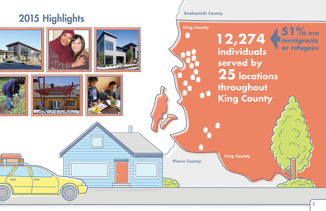 Neighborhood House 2015 Annual Report, highlights, communities served in King County