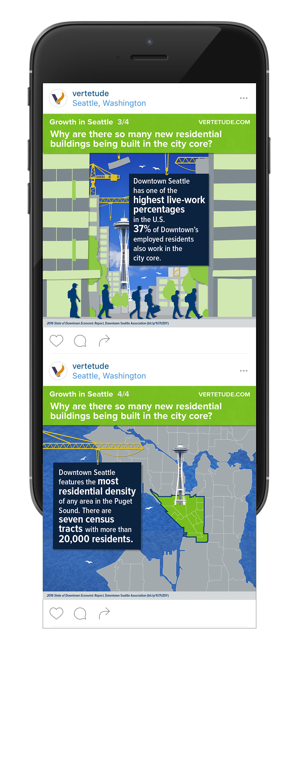 Infographic of growth in downtown Seattle for mobile and social media