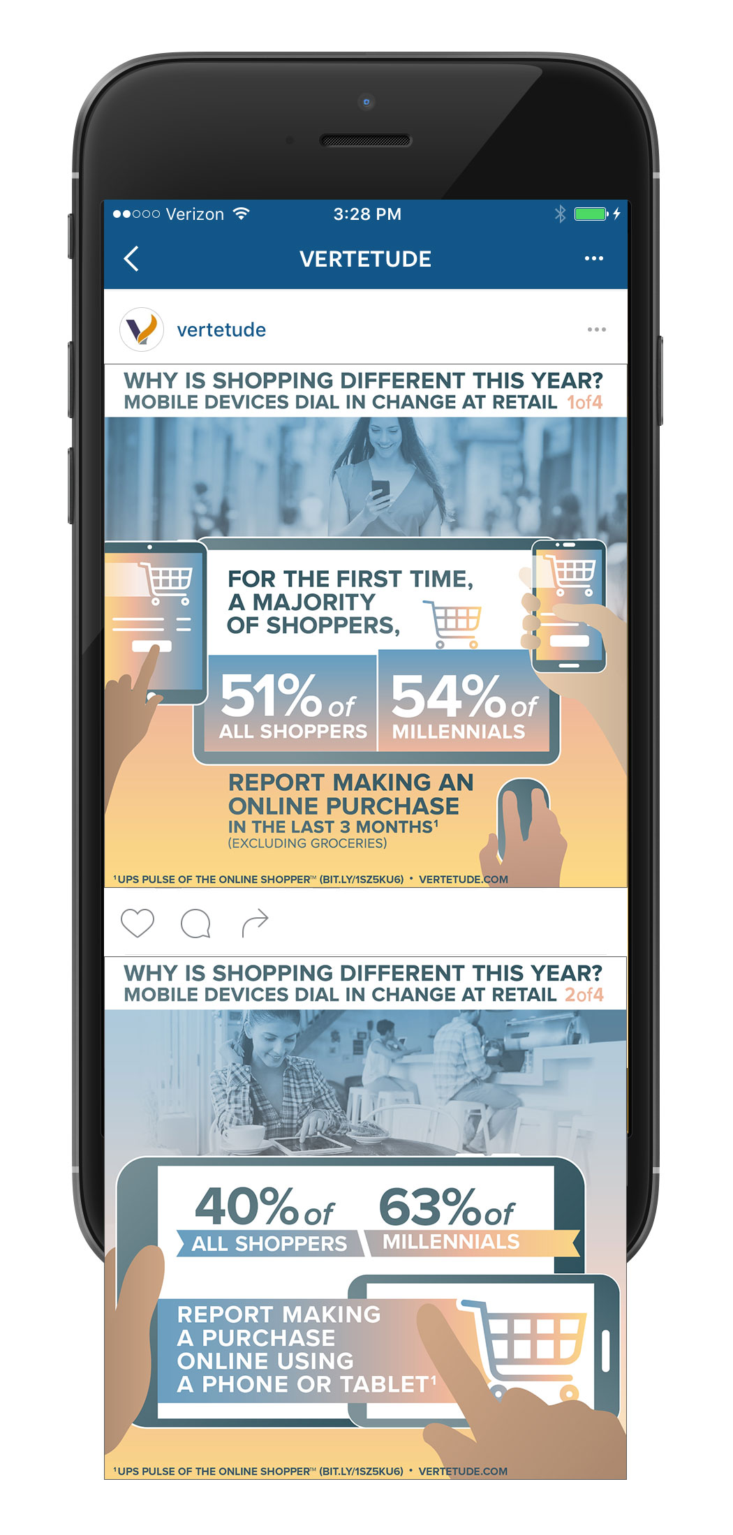 Infographic of mobile devices changing retail, Instagram mobile mockup