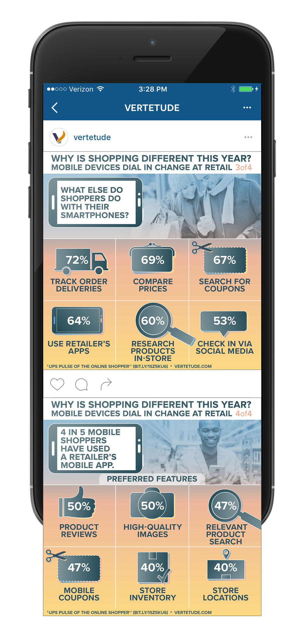 Infographic of mobile devices changing retail, Instagram mobile mockup 2