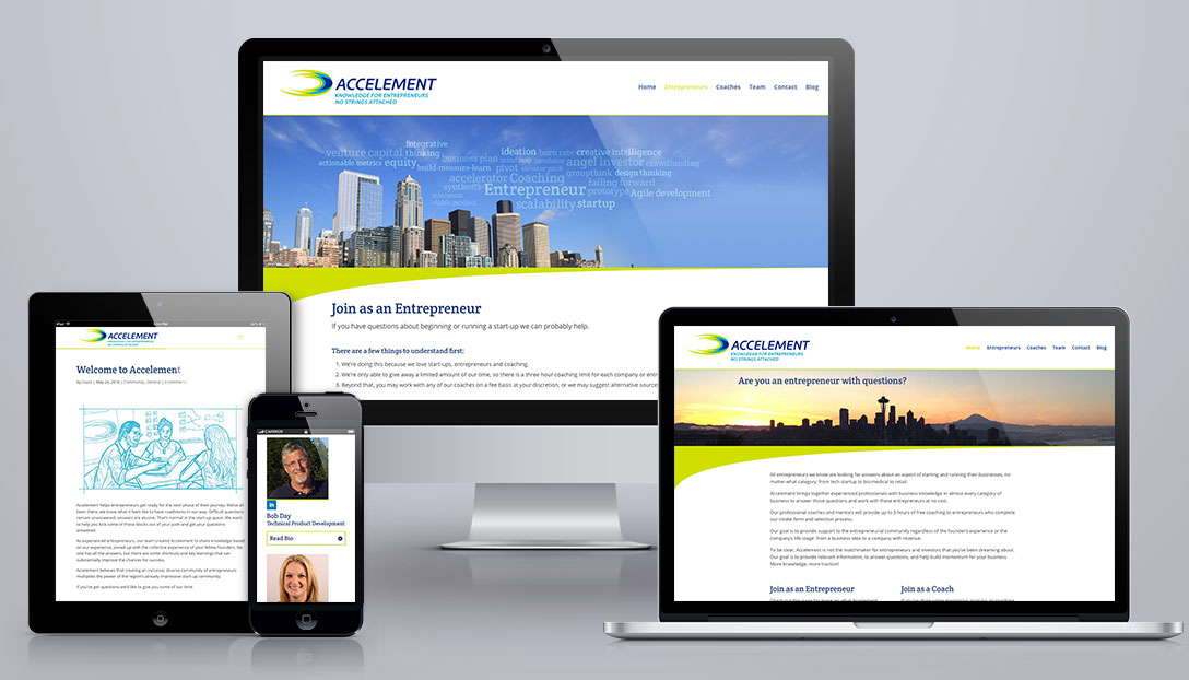 Accelement website, showing responsive design on mobile, tablet, and desktop