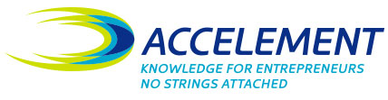 Accelement logo design in horizontal format