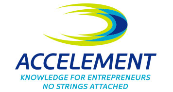 Accelement Logo Design in vertical format